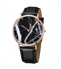 Rose Gold PVD Plating Real Marble Montre en cuir véritable