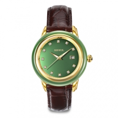 Montre en jade en cuir véritable originale OEM Original Swiss Mechanical Movement